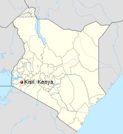 Map of Kenya showing Kisii town.