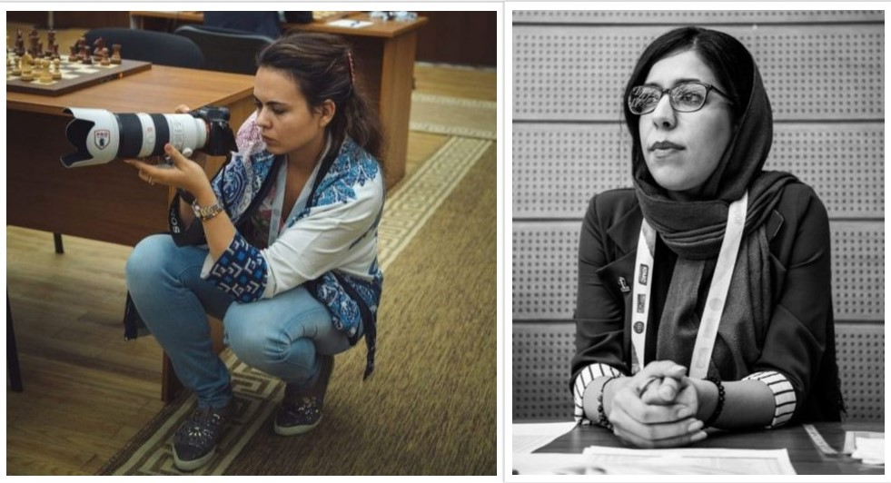 Left photographer Maria Emelianova from Russia and working with www.chess.com. On the right Deputy Chief Arbiter Shohreh Bayat of Iran. Photo credit https://ugra2018.fide.com.