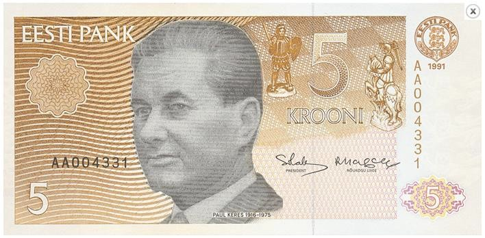 Estonian bank note with GM Paul Keres.