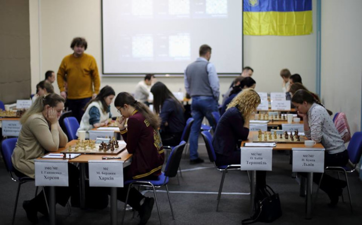 The playing hall. Photo credit Ukrainian Chess Federation website.