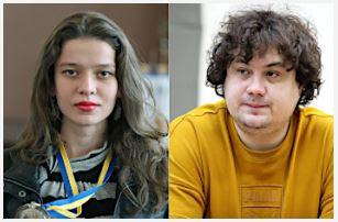 IM Nataliya Buksa, & GM Anton Korobov. Photo credit Ukrainian Chess Federation website.