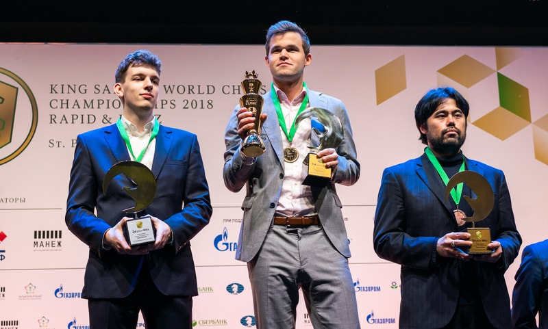 Winner of the Blitz Championship. Middle Magnus Carlsen, left Duda Jan-Krzysztof and Nakamura Hikaru. Photo credit Lennart Ootes.