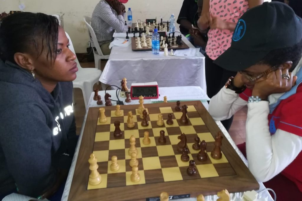 Judith Easter (left) in action against Ann Kungu. Photo credit Moses Andiwoh.