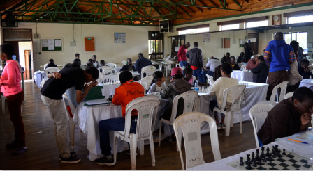 Section of the playing hall for the Kenya National Chess Championship.