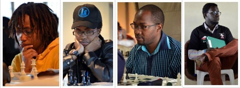 From left - Lucy Wanjiru, Ann Kungu, George Mwangi and arbiter Ronald Bolo during the 2018 Kenya National Chess Championship.