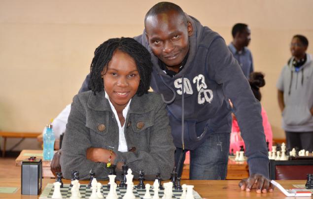 Winners of the 2018 Kireka Open - WFM Angolikin Goretti & Solomon Lubega pose in a photo from the 2016 Nairobi Chess Club Championship.
