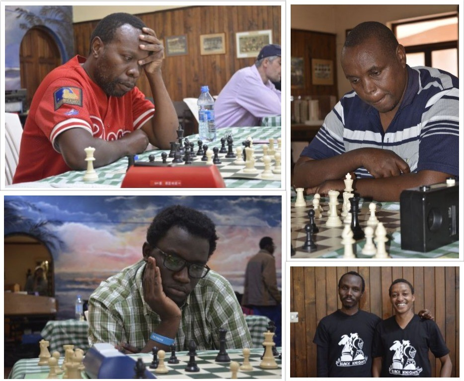 Top left Lwanga Karoli in action. Top right Hiram Gakembu who was one of the sponsors of the event. Bottom left Ronald Bolo in action.Bottom right - Black Knights Chess Club members Brian Kariuki (left) and Anthony Kionga.