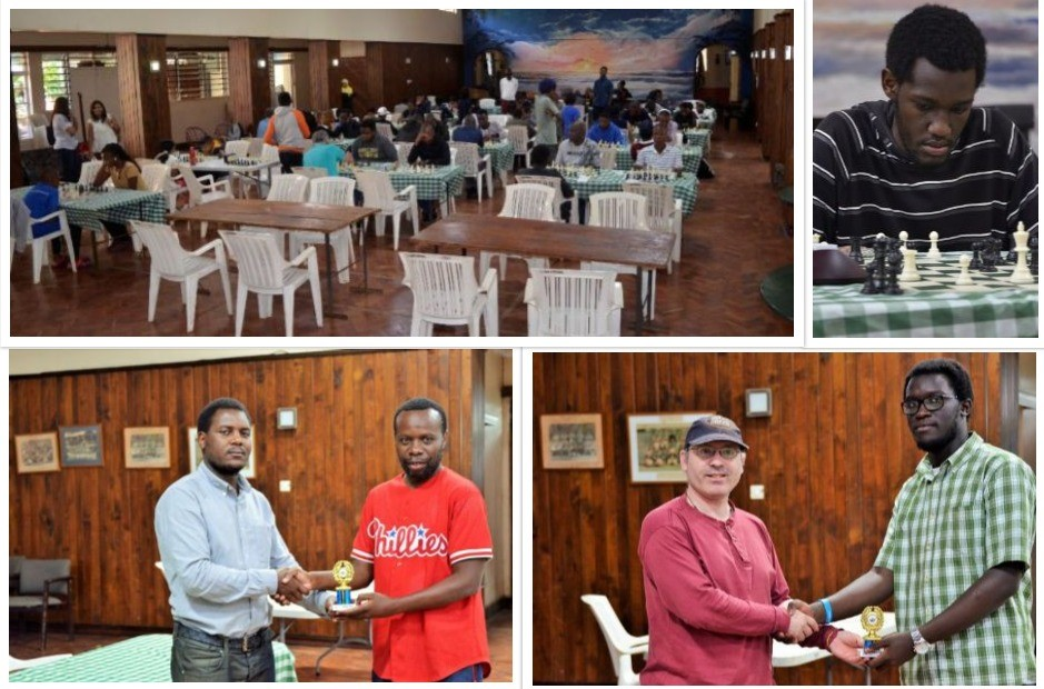 Top left photo of the playing hall. Top right Kimani Kimingi in action in the Open Section. Bottom left Karoli Lwanga (right) receives his trophy from Chief Arbiter Duke Michieka. Bottom left Nairobi Chess Club Secretary Warren Pollock (left) presents Ronald Bolo with the winning trophy in the U1700 Section.