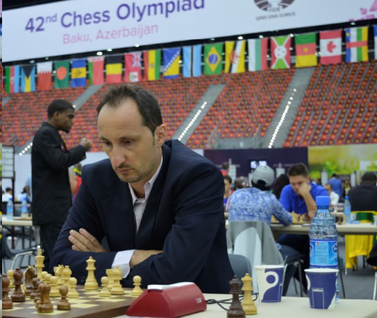 GM Veselin Topalov  in action during the 2016 Baku Olympiad round 1.