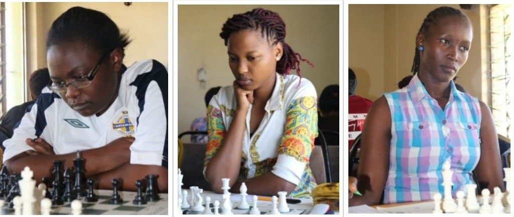 Kenya ladies in action from left - Lyndah Abur, Daphne Mwikali & Agnes Thuo.   Photo credit James Mwangi.