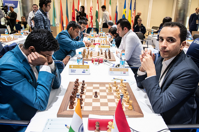 Abdihan (left) of India versus Africa's top player Dr Amin Bassem. Photo credit David Llada.