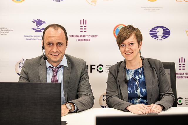 Commentators of the event Evgenij Miroshnichenko & Anna Burtasova. Photo credit David Llada.