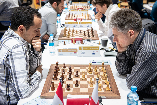 Bassem Amin of Egypt (left) in action against Mickey Adam of England. Photo credit David Llada.