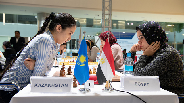 Dinara Saduakassov of Kazakhstan in action against Wafa Shahenda of Egypt. Photo credit David Llada.