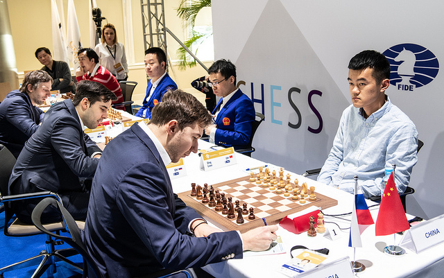 Russian team defeat China. Sergey Karjakin sits opposite Ding Liren. Photo credit David Llada.