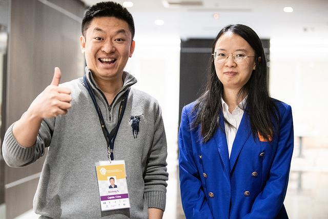 Proud China Captain - Shaoten Yu (left) and team member Yixin Ding. Photo credit David Llada.