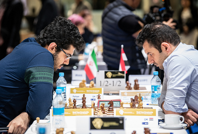 Pouya Idani of Iran in action against Adly Ahmed of Egypt. Photo credit David Llada.