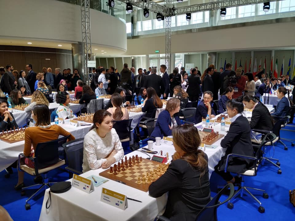The playing hall of the World Team Championship Day 2. Photo credit Dastan Kapaev.