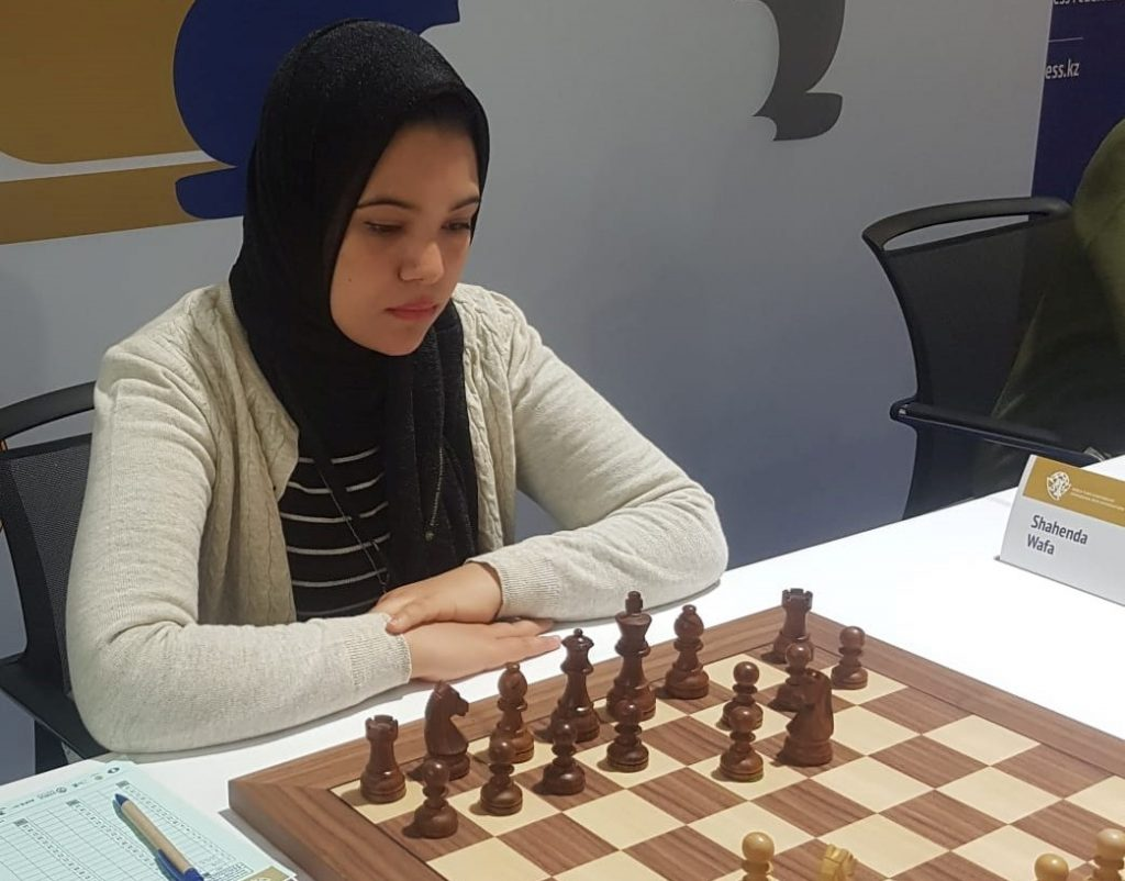 Wafa Shahenda of Egypt in action. Photo credit Egyptian Chess Federation.