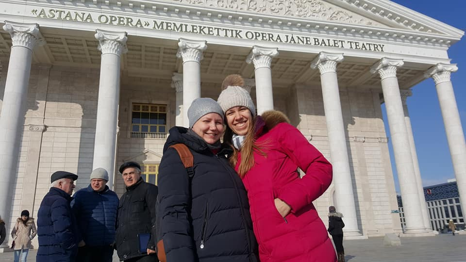 Valentina Gunina & Olga Griya both of Russia enjoying the sights of Astana. Photo credit Dastan Kapaev.