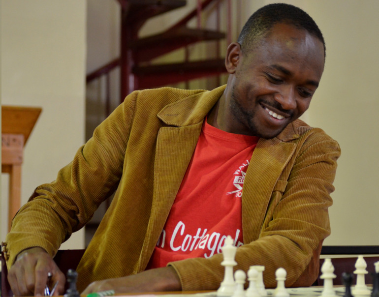 Alusa Bonventure the organiser of the event seen here taking part in the 58th Nairobi Chess Club Championship on 21st August 2016.