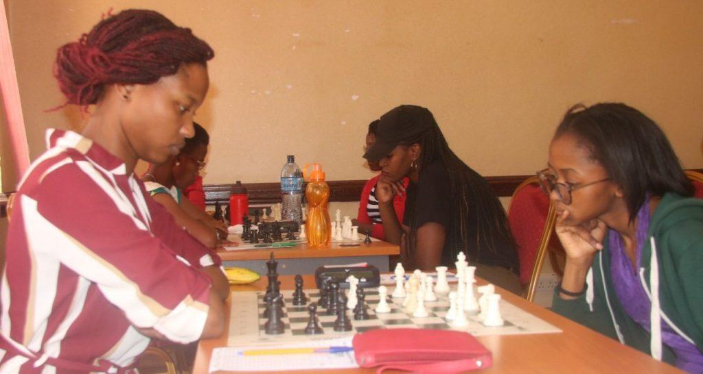Daphne Mwikali (left) in action against Glenda Madelta. Photo credit James Mwangi.