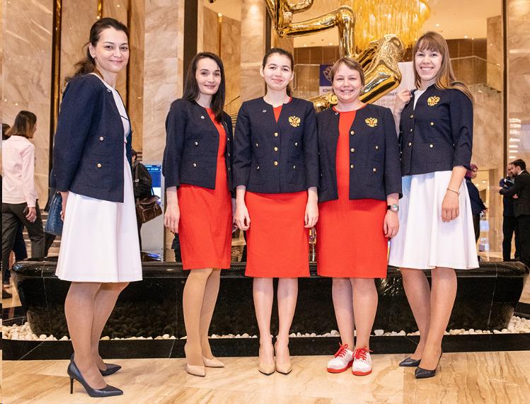 Team Russia. From left Alexandra Kosteniuk, Kateryna Lagno, Aleksandra Goryachkina, Valentina Gunina, and Olga Girya. Photo credit David Llada.