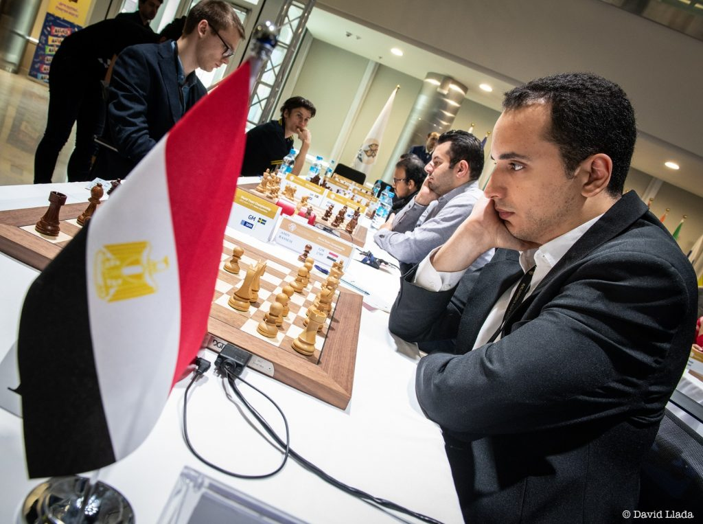 Bassem Amin in action against Sweden in an earlier round. Photo credit David Llada.