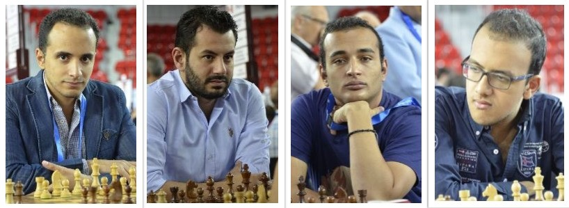 From left to right - GM Amin Bassem, GM Adly Ahmed, GM Abdelrahman Hesham , GM Adham Fawzy all from Egypt.