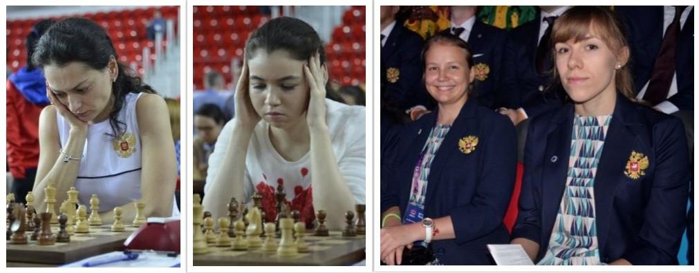 Team Russia from left Alexandra Kosteniuk, Aleksandra Goryachkina, Valentina Gunina, and Olga Girya.  Photo credit Kim Bhari.