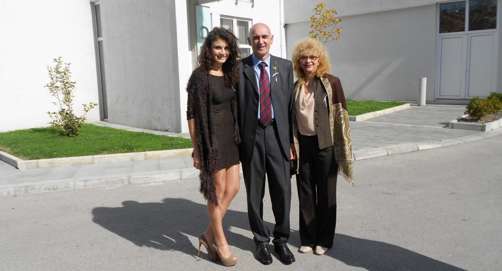Bojana with her proud parents father Tomislav and mother Dusanka .