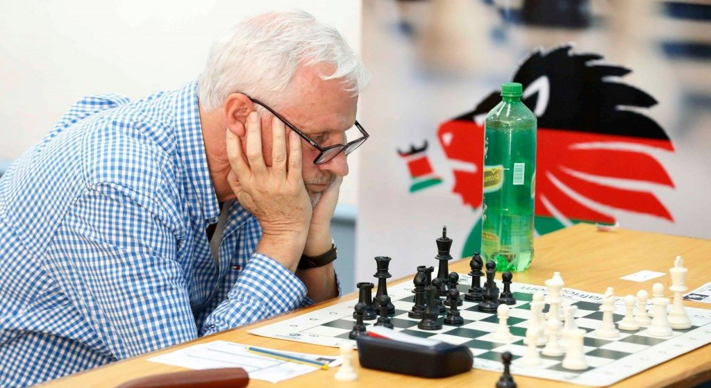 Peter Gilruth Kenya's highest ranked player in action during the Kenya Open 2019.  Photo credit Chess Kenya.