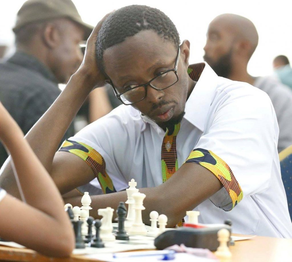 FM Harold Wanyama in action in the Kenya Open 2019.  Photo credit Chess Kenya.