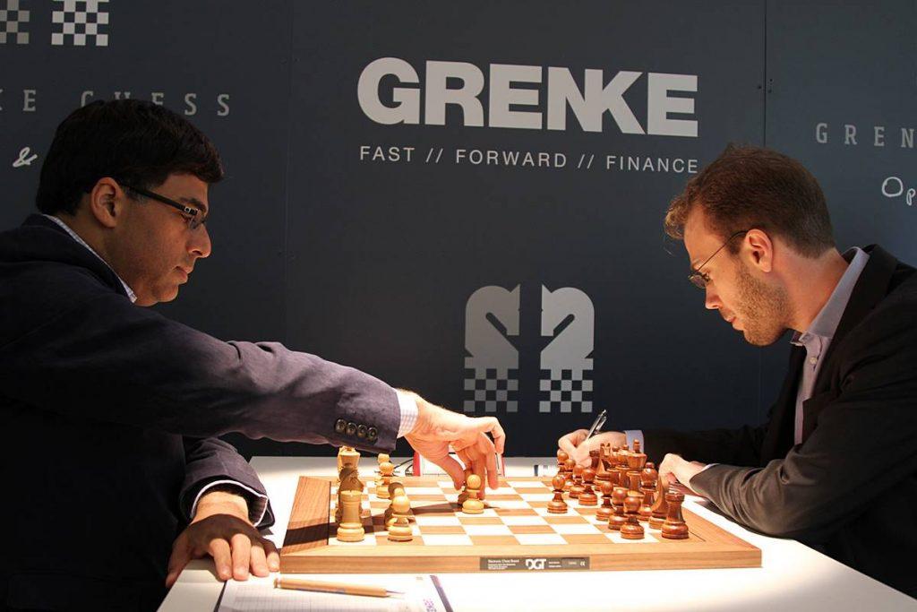 Viswanathan Anand and Georg Meier. Photo credit Georgios Souleidis.