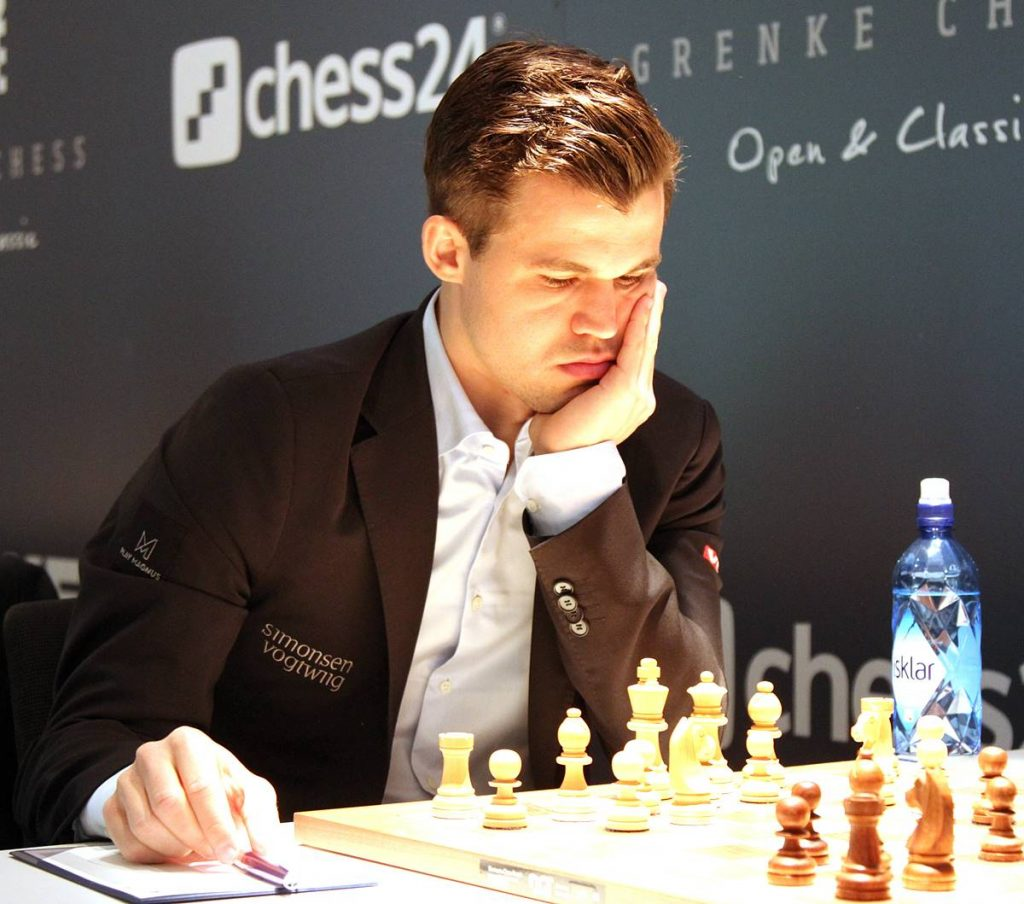 World Champion Magnus Carlsen in action. Photo credit Georgios Souleidis.