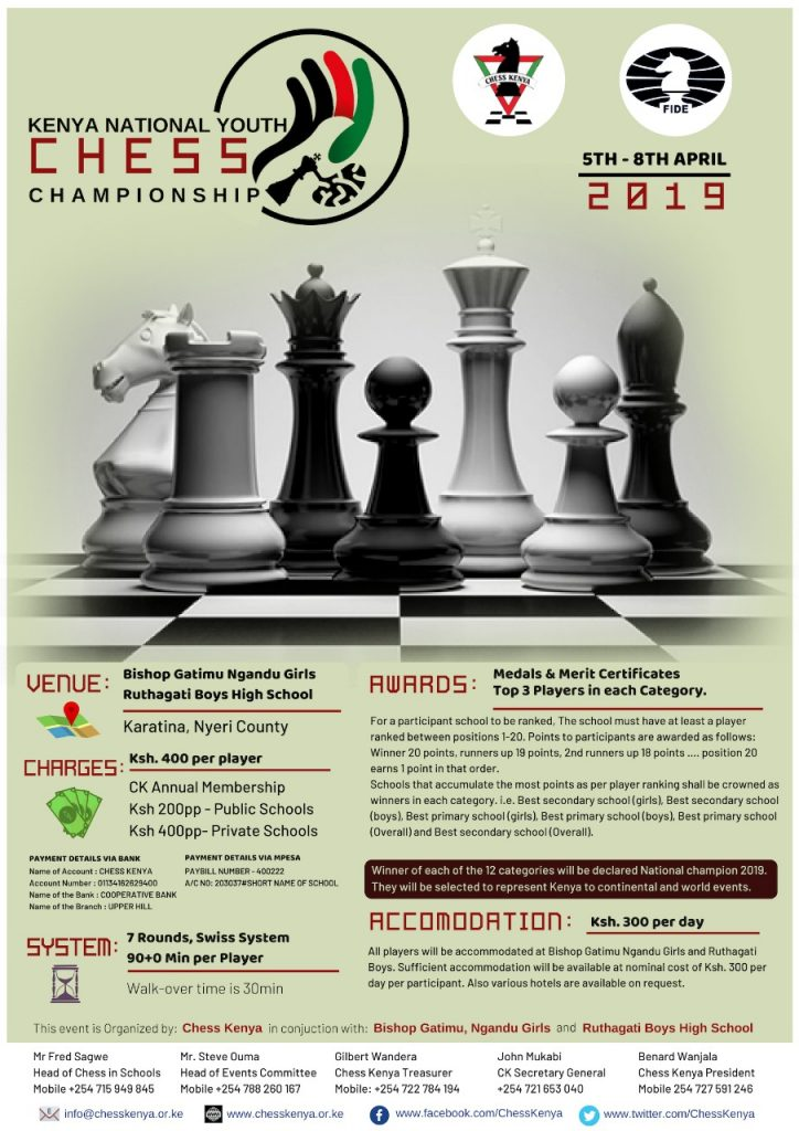 Poster of the Kenya National Youth Chess Championship KNYCC 2019.