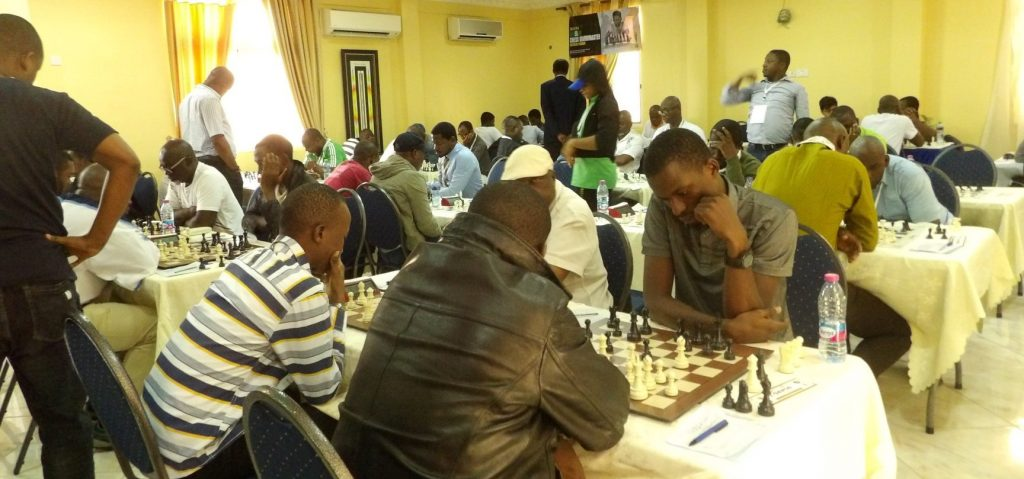 Section of the playing hall in the 2019 Zone 4.4 Chess Championship.