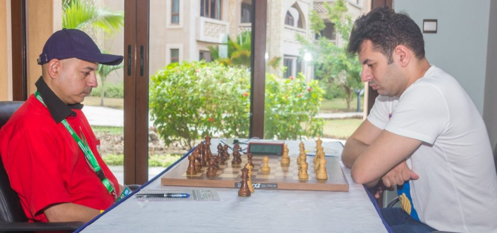 Mehul Gohil facing one of the tough Egyptians GM Ahmed Adly. Photo credit Eastmond Mwenda of www.eastmondmwenda.co.ke