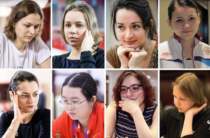 Women's World Championship kicks off with these top 8 players. Who will be the challenger to World Champion Wu Wenjun of China.Top row from left - Anna Muzychuk (Ukraine, 2539), Mariya Muzychuk (Ukraine, 2563), Kateryna Lagno (Russia, 2554), Aleksandra Goryachkina (Russia, 2522). Bottom row from left - Alexandra Kosteniuk (Russia, 2546), Tan Zhongyi (China, 2513), Nana Dzagnidze (Georgia, 2510), and Valentina Gunina (Russia, 2506).