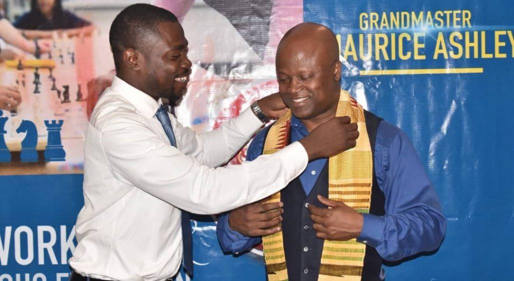 President of Ghana Chess Association Philip Ameku fetes GM Maurice Ashley. Photo credit Ghana Chess Association.