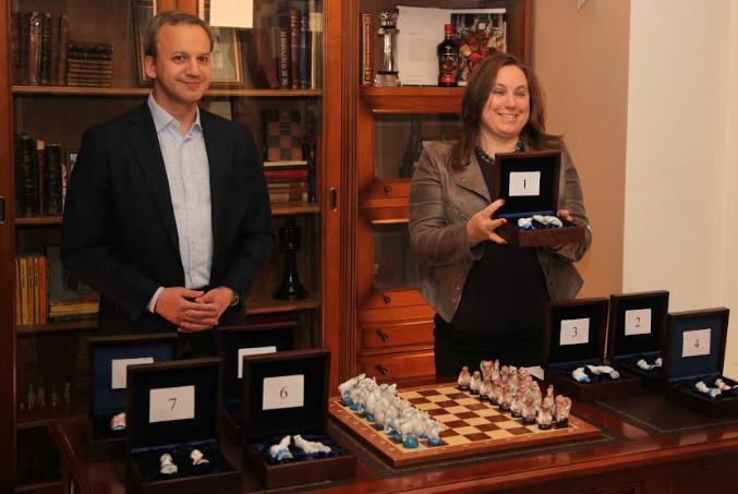 FIDE President Arkady Dvorkovich and Judith Polgar. Photo credit FIDE.