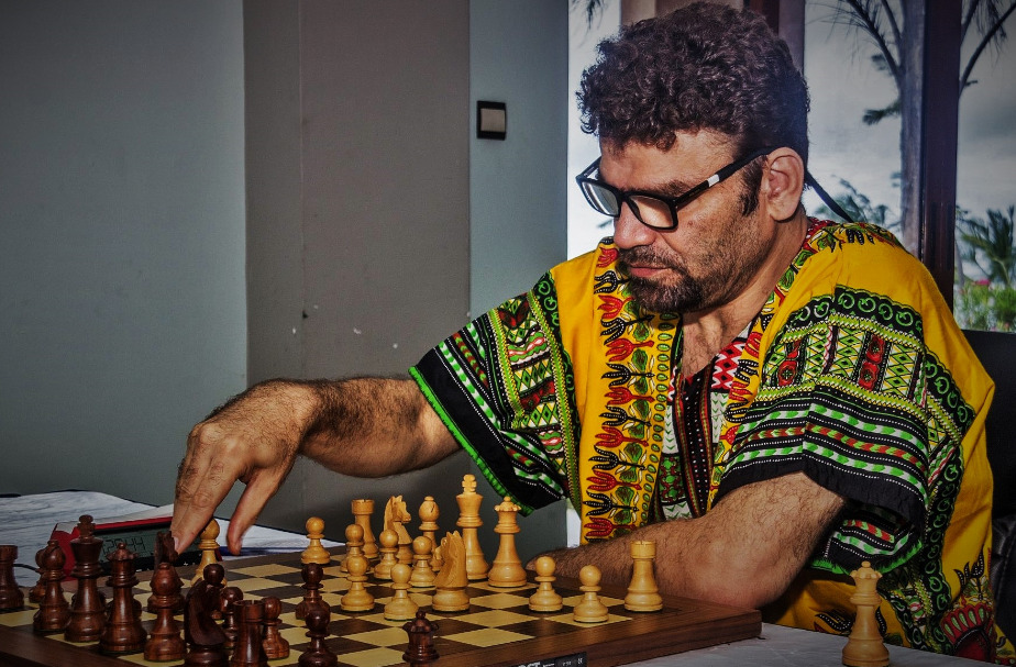 GM Essam El Gindy of Egypt in action during the 2019 Zone 4.2 in Mombasa, Kenya. Photo credit James Mwangi.