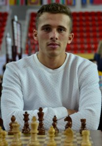 Will he stop the Egyptian? GM Bilel Bellahcene of Algeria seen in action during the 2018 Batumi Olympiad. Photo credit Kim Bhari.