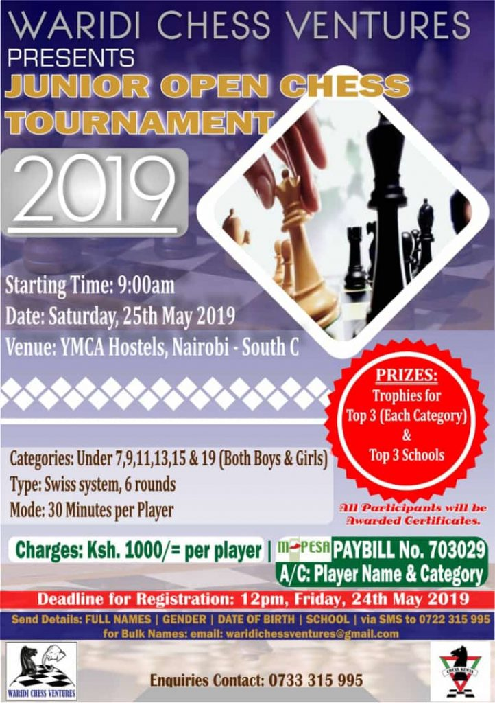 Poster for the Waridi Chess Ventures Junior Open Chess Tournament 2019.