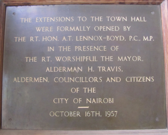The plaque at City Hall.