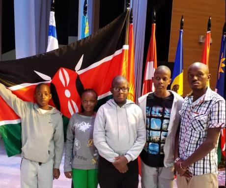 Standing from left - Michael Lawrence, Yvonne Waithera, Jude Mbarire, Robert Irungu and coach Michael Mutua.