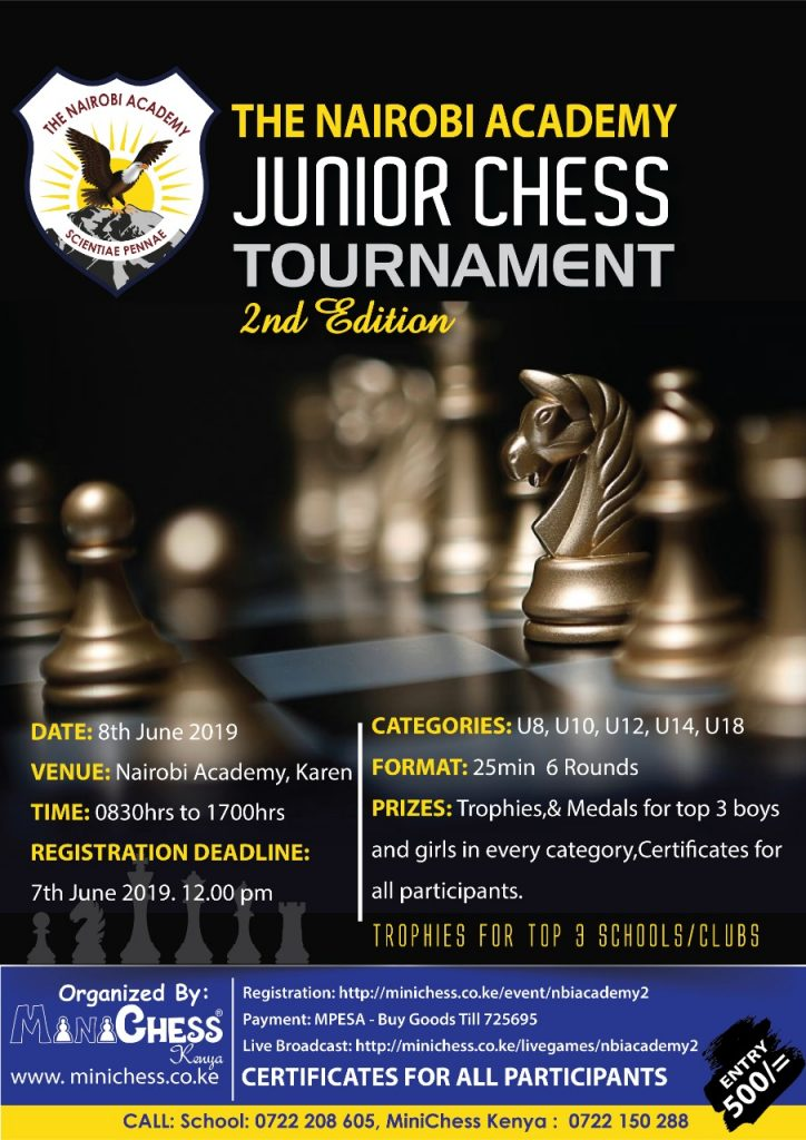 Poster of the event - Nairobi Academy Junior Chess Tournament.