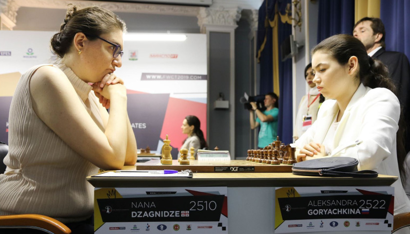 Nana Dzagnidze of Georgia (left) takes on Aleksandra Goryahina of Russia. Photo credit https://fwct2019.com