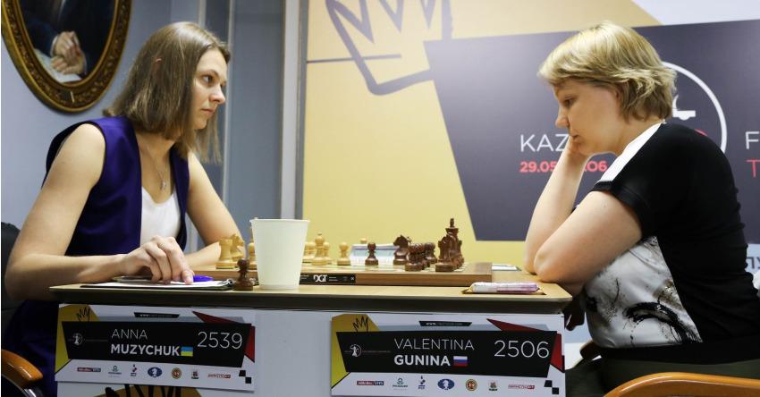 Anna Muzychuk of Ukraine (left) takes on Valentina Gunina of Russia. Photo credit https://fwct2019.com