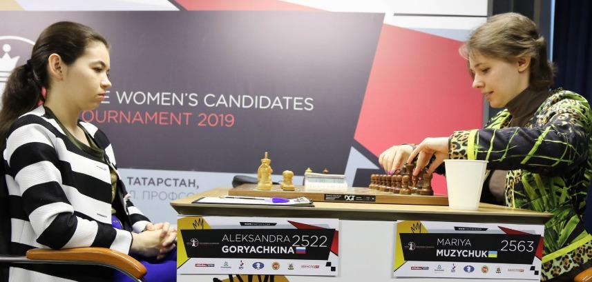 Aleksandra Goryachkina of Russia versus Mariya Muzychuk of Ukraine. Photo credit https://fwct2019.com.
